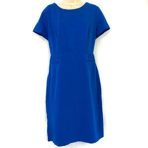 Talbots Sheath Dress 12 Blue Stretch Knit